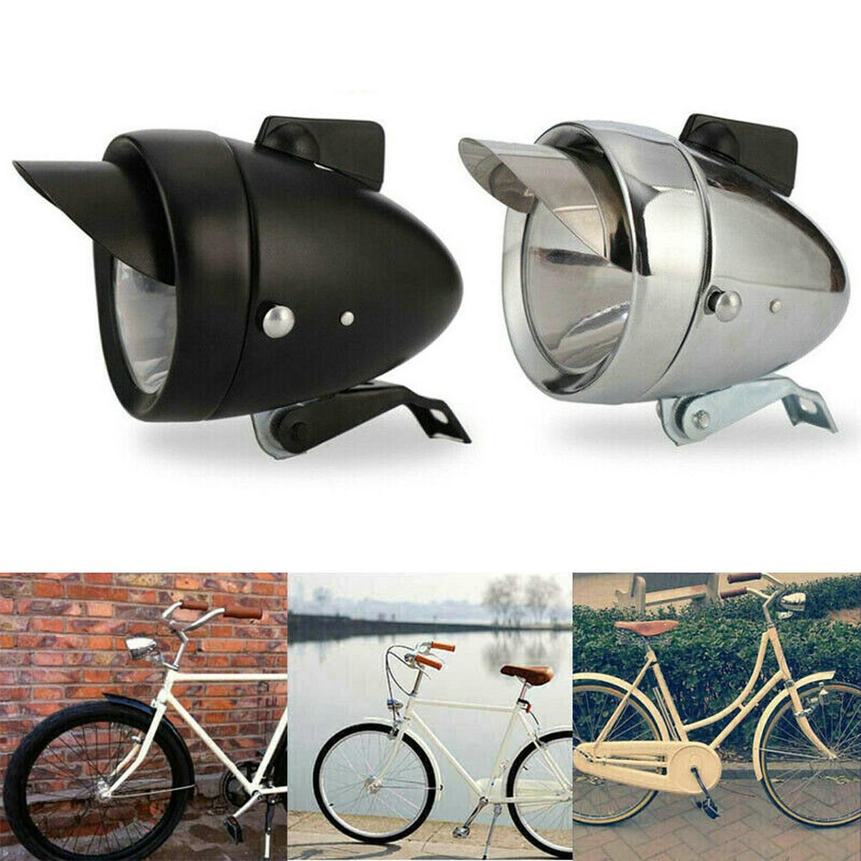 Super Bright Metal Vintage Retro Bicycle Headlight Bike LED Front Light Fog Lamp