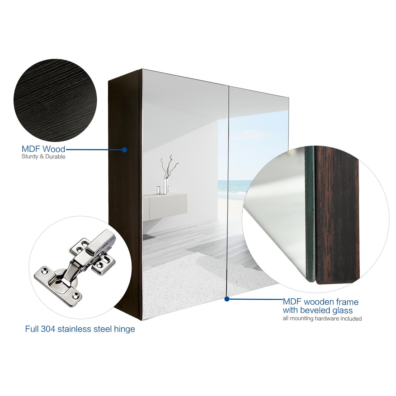 Bathroom 24\'\' Wood Medicine Cabinet Wall Mount Mirror Storage ...