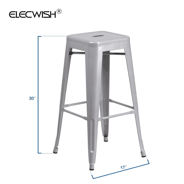 Set of 4 Metal Steel Bar Stool High Counter Top Seat Cushion