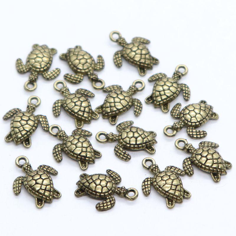 24//72pcs Tibetan Gold//Silver Sea Turtle//Tortoise Charms Pendants 12x16mm