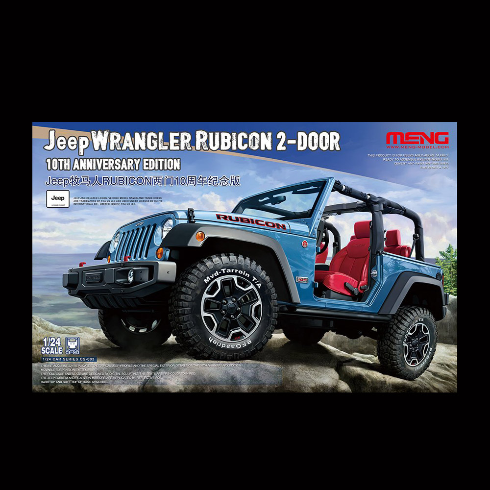 MENG Model Jeep Wrangler Rubicon 2 Door 10th Anniversary Edition 1/24 CS 003