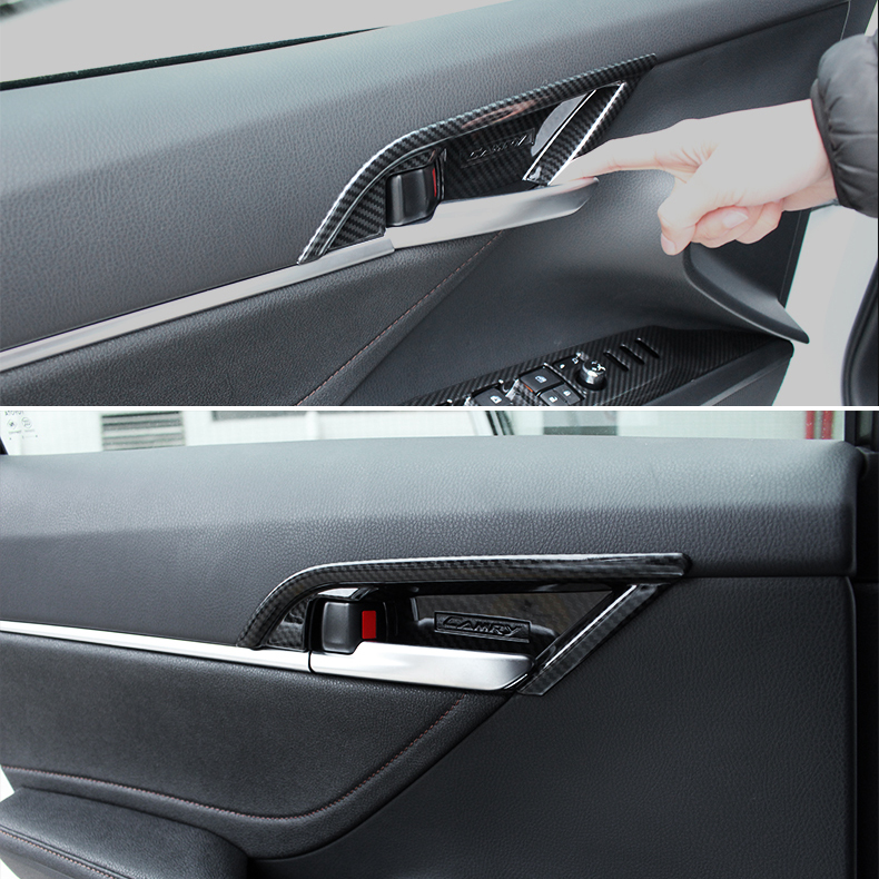 ABS Carbon Fiber Style Interior  Door Handle Trim For TOYOTA CAMRY 70s 2018 New