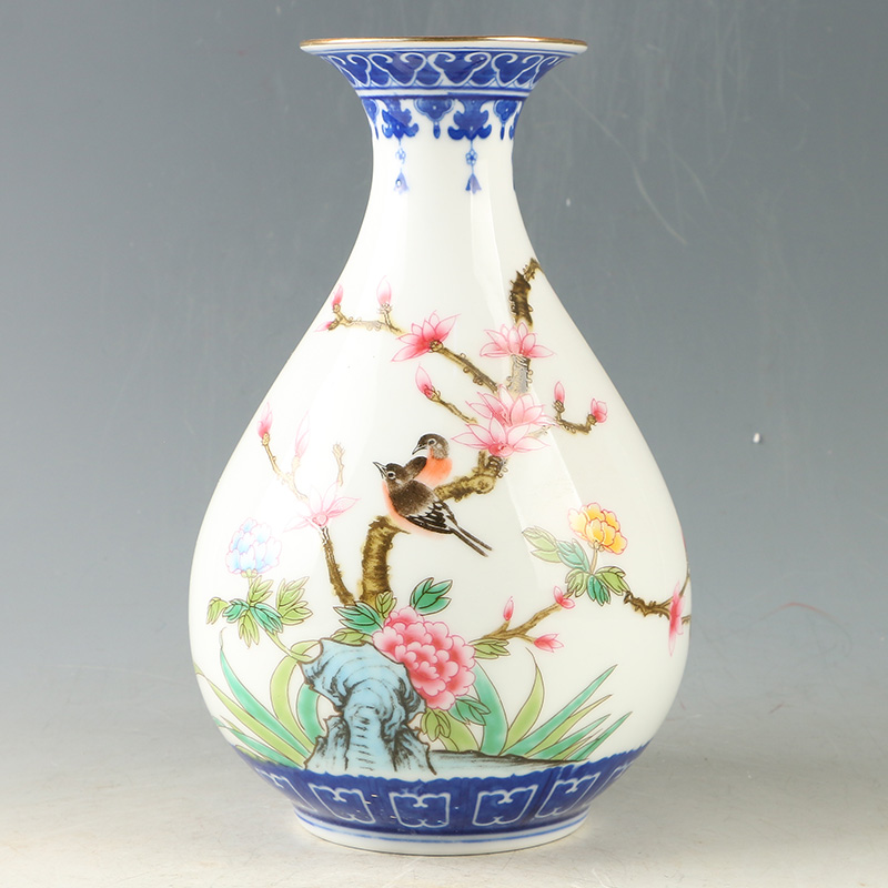 Chinese Porcelain Hand Painted Bird Flower Vase W Qianlong Mark
