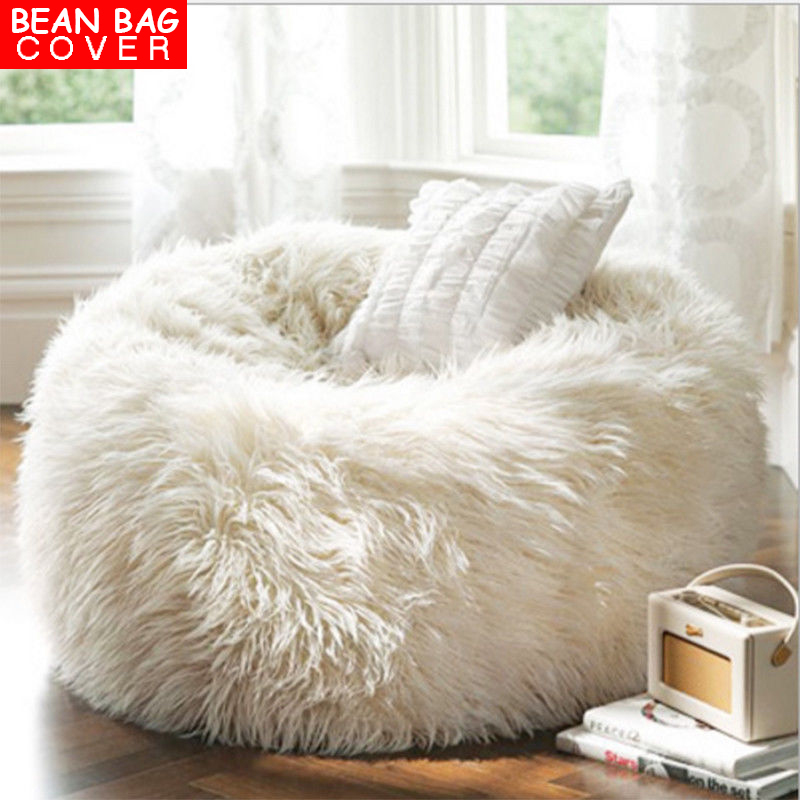7314a69fb9 Luxury Large Faux Fur Bean Bag Chairs for Kids Adults Fluffy Beanbag Cover  Plush