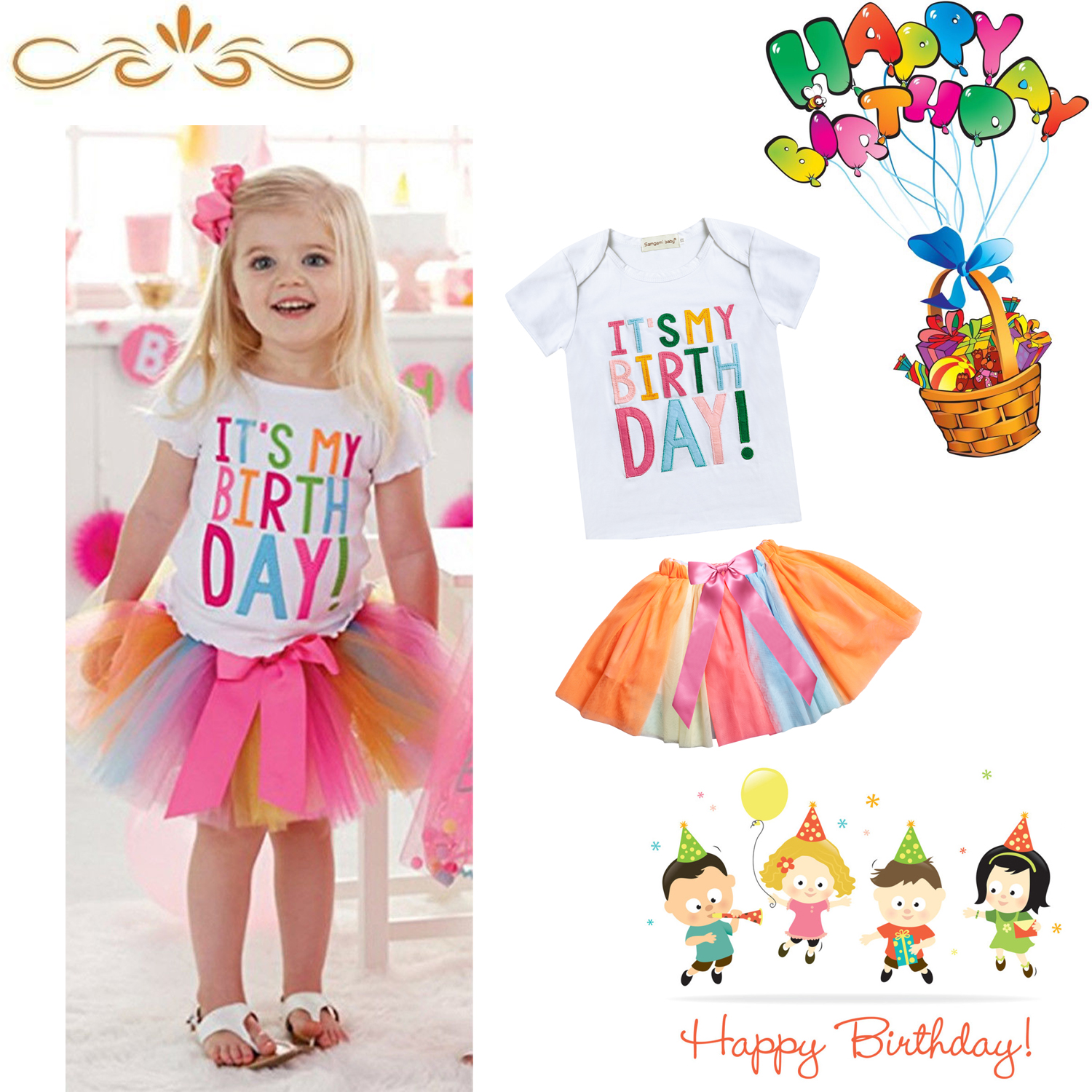 Details About Baby Toddlers Kids Girls Its My Birthday T Shirt Colourful Tutu Skirt Dress Set