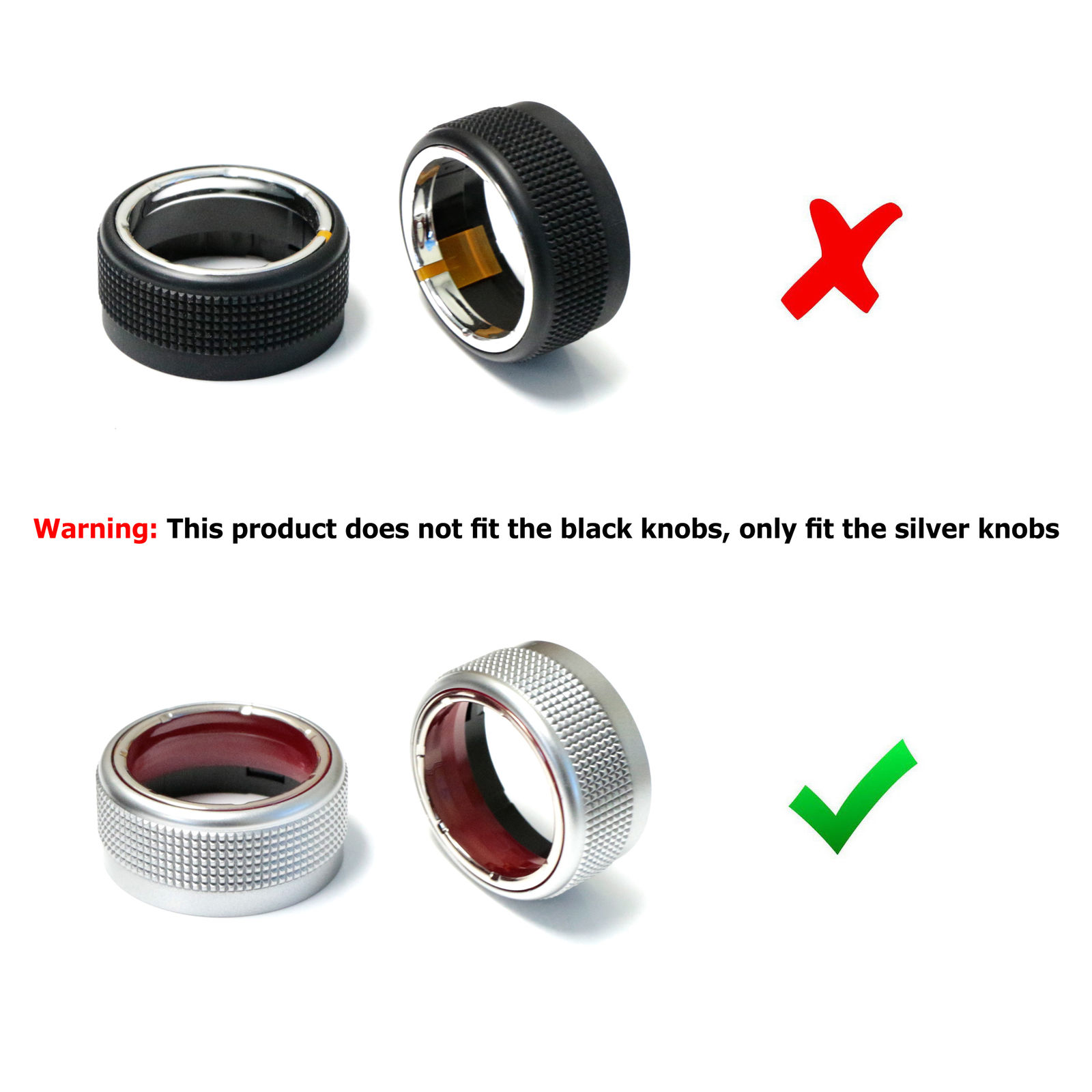 3x Red Aluminum Ac Climate Control Knob Ring Covers For