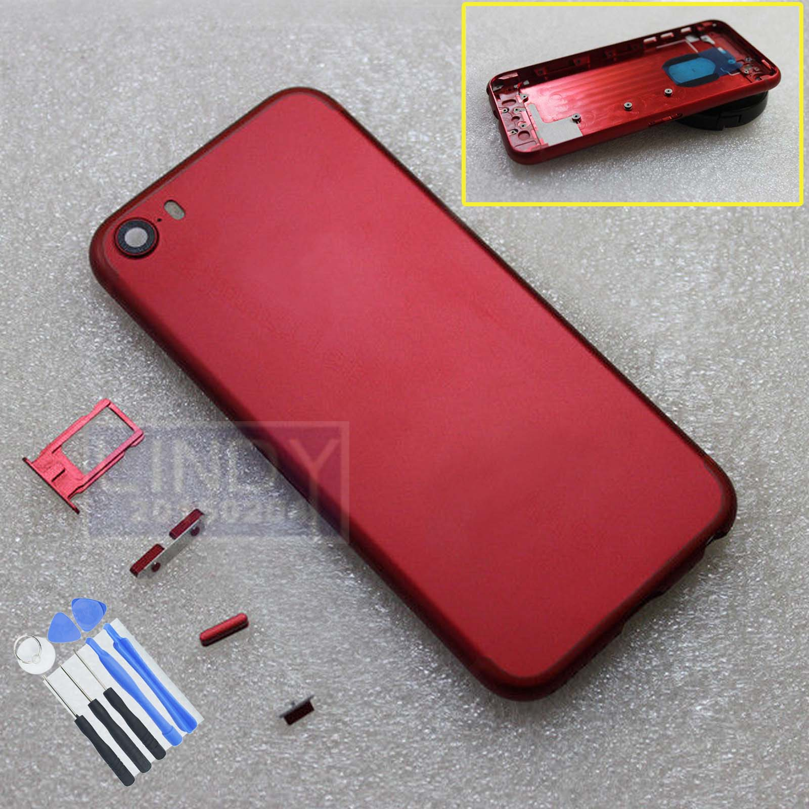 Red For iPhone 5/5G 5S Replace To iPhone 7 Battery Back Door Cover ...