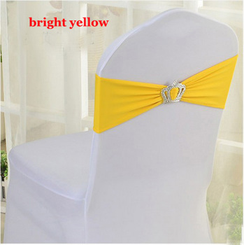 25~100pcs Spandex Lycra Chair Band Covers with Crown Slider Buckle Wedding Party